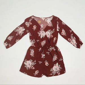Cape Juby Boho Floral Romper Burnt Red Brown NWT
